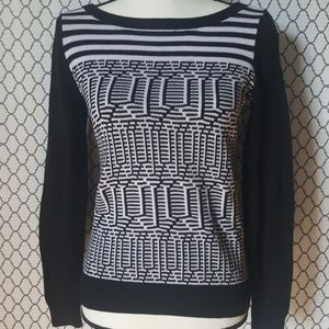Banana Republic Geometric Black/White Sweater SZ S